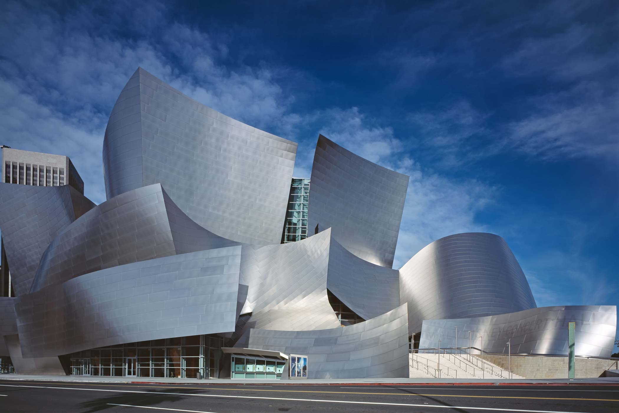 Walt Disney Concert Hall exterior shot during the day
